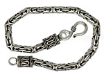 "Sterling Silver 7"" Byzantine Indonesian Handmade Toggle Bracelet 4mm"