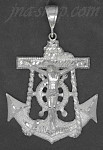 Sterling Silver DC Big Anchor Crucifix Charm Pendant