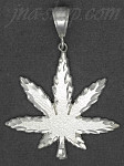 Sterling Silver Diamond-cut Marijuana Pot Cannabis Leaf Charm Pendant
