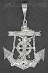 Sterling Silver DC Big Anchor Cross Crucifix Charm Pendant