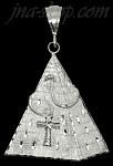Sterling Silver Diamond-Cut Very Large Egyptian Pyramid w/Cobra & Ankh Pendant