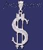 Sterling Silver DC Big Dollar Money Sign w/Arrows Charm Pendant