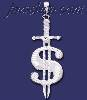 Sterling Silver DC Big Dollar Money Sign w/Sword Charm Pendant