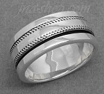Sterling Silver MENS SPINNER RING W/ KNURLED EDGE SPINNING BAND size 10