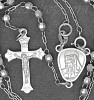 "Sterling Silver 20"" Crucifix & Virgin Mary Rosary 3mm Faceted Be"
