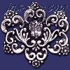 Sterling Silver Flower Ornament w/Child Face Brooch Pin