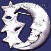 Sterling Silver Moon w/3 Stars Brooch Pin