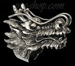 Sterling Silver Big Dragon Head Ring sz 8