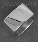 Sterling Silver Plain HP Square Band Ring 13mm sz 12