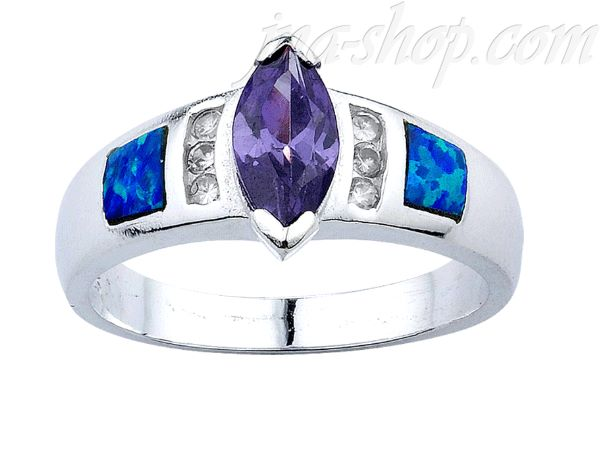 Sterling Silver Opal Inlay Ring Marquise-Cut Amethyst CZ & Clear CZ Accents Sz 9 - Click Image to Close