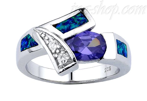 Sterling Silver Opal Inlay Ring w/Oval-Cut Amethyst CZ & Clear CZ Accents Sz 8 - Click Image to Close