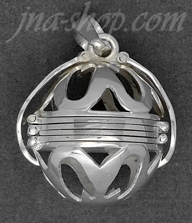 Sterling Silver 6-Picture Photo Ball Openwork Design Locket Pendant - Click Image to Close