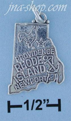 Sterling Silver RHODE ISLAND STATE CHARM - Click Image to Close