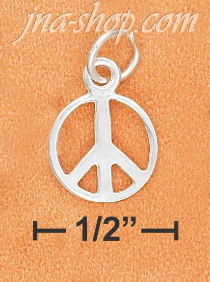 Sterling Silver 6MM HIGH POLISH PEACE SIGN CHARM - Click Image to Close