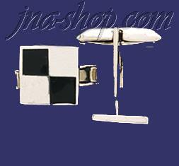 Sterling Silver Checkered Square Cufflinks