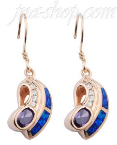 Sterling Silver w/Gold Overlay Opal Inlay Earrings Amethyst CZ on French Wire