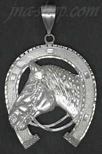 Sterling Silver DC Big Horse Head Horseshoe Charm Pendant