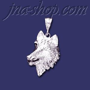 Sterling Silver DC Big Wolf Head Charm Pendant