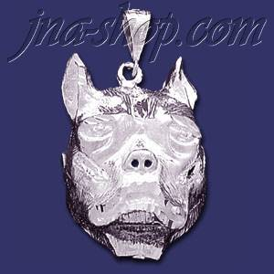 Sterling silver dc big pitbull dog head charm pendant p286 sterling silver dc big pitbull dog head charm pendant aloadofball Choice Image