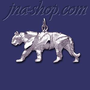 Sterling Silver Tiger Feline Animal Charm Pendant