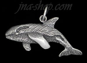 Sterling Silver Orca Killer Whale Animal Charm Pendant