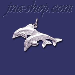 Sterling Silver Dolphins Animal Charm Pendant