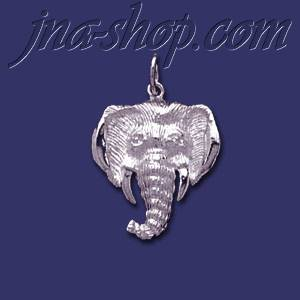 Sterling Silver Elephant Head Animal Charm Pendant