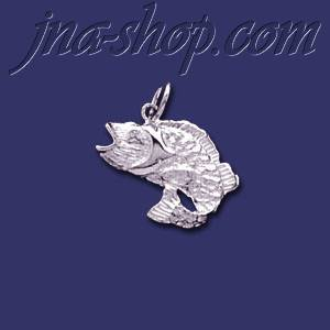 Sterling Silver Bass Fish Animal Charm Pendant