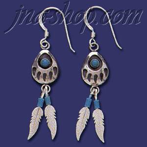 Sterling Silver Feathers Genuine American Indian Turquoise Earri
