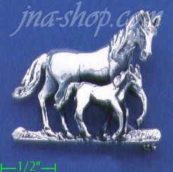 Sterling Silver Mother & Foal Horses Brooch Pin