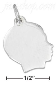 Sterling Silver SIDE VIEW BOY'S PROFILE CHARM