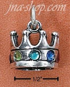 Sterling Silver REGAL CROWN WITH FAUX GEMSTONES CHARM
