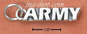 "Sterling Silver ANTIQUED ""ARMY"" CHARM"