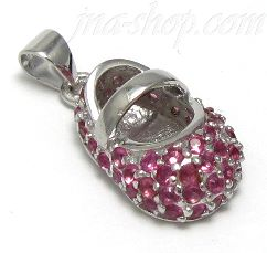 Sterling Silver JULY LARGE RUBY COLORED CZ BIRTHSTONE BOOTIE CHA