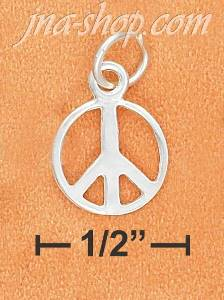 Sterling Silver 6MM HIGH POLISH PEACE SIGN CHARM