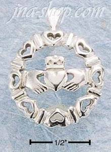 Sterling Silver ROUND CLADDAGH SURROUNDED W/ HEARTS