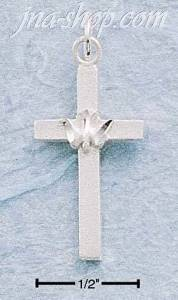 Sterling Silver PLAIN FLAT CROSS W/ DC PEACE DOVE