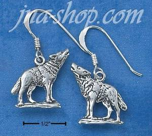 Sterling Silver HOWLING WOLF EARRINGS ON FRENCH WIRE