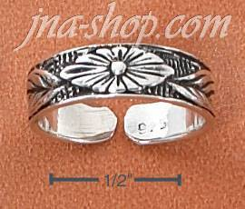 Sterling Silver FLATTENED FLORAL PATTERN WITH LEAVES TOE RING