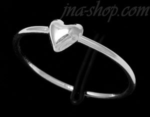 Sterling Silver Single Heart Ring On Thin Band sz 9