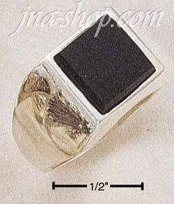Sterling Silver MEN'S SQUARE ONYX RING