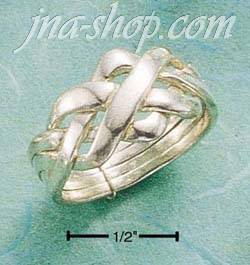 Sterling Silver FOUR BAND WIDE PUZZLE RING SIZES 4-13
