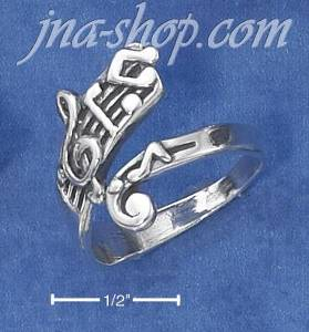 Sterling Silver ADJ MUSIC NOTES RING