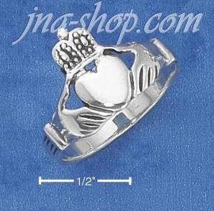 Sterling Silver LARGE ANTIQUED CLADDAGH RING (4-13)