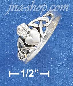 Sterling Silver CELTIC CROWNED HEART RING
