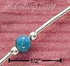"Sterling Silver 9"" TURQUOISE BEAD ON LIQUID SILVER ANKLET"