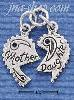 Sterling Silver 2 PIECE MOTHER/DAUGHTER HEART CHARM