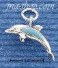 Sterling Silver DOLPHIN W/ TURQUOISE INLAY CHARM
