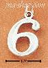 "Sterling Silver NUMBER ""6"" CHARM"