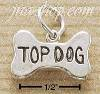 "Sterling Silver DOG BONE W/ ""TOP DOG"" INSCRIBED CHARM"